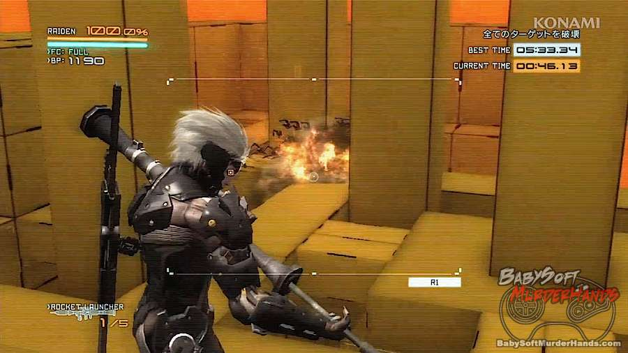 Metal Gear Rising- VR Missions DLC Raiden screen