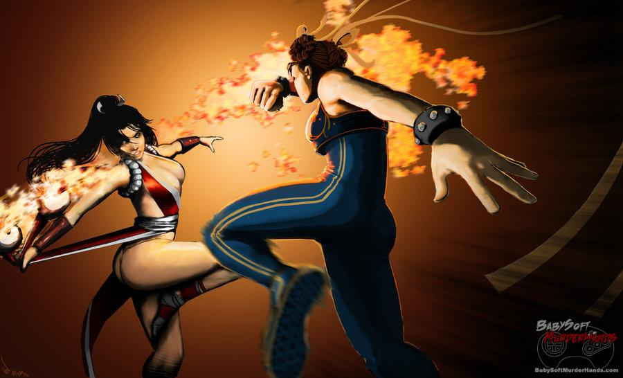 Mai v Chun-Li by Vensin Fan Art