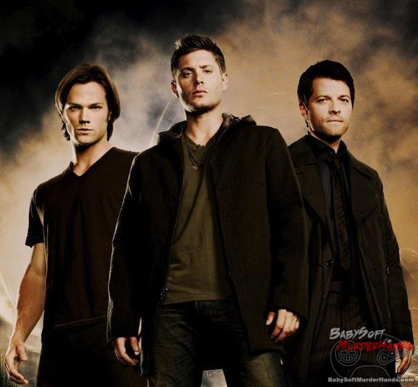 Left to Right: Sam Winchester (Jared Padalecki), Dean Winchester (Jensen Ackles), and Castiel (Misha Collins)